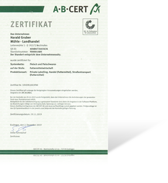 Zertifikat QS Futtermittel